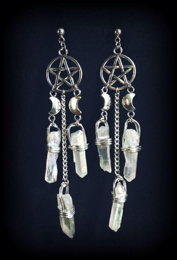 Argento pentacolo e orecchini di cristallo di VioletMoonchildArts