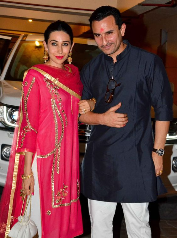 Karisma Kapoor and Saif Ali Khan at the Diwali bash hosted by the Nawab in Mumbai on Wednesday. Pics/Yogen Shah