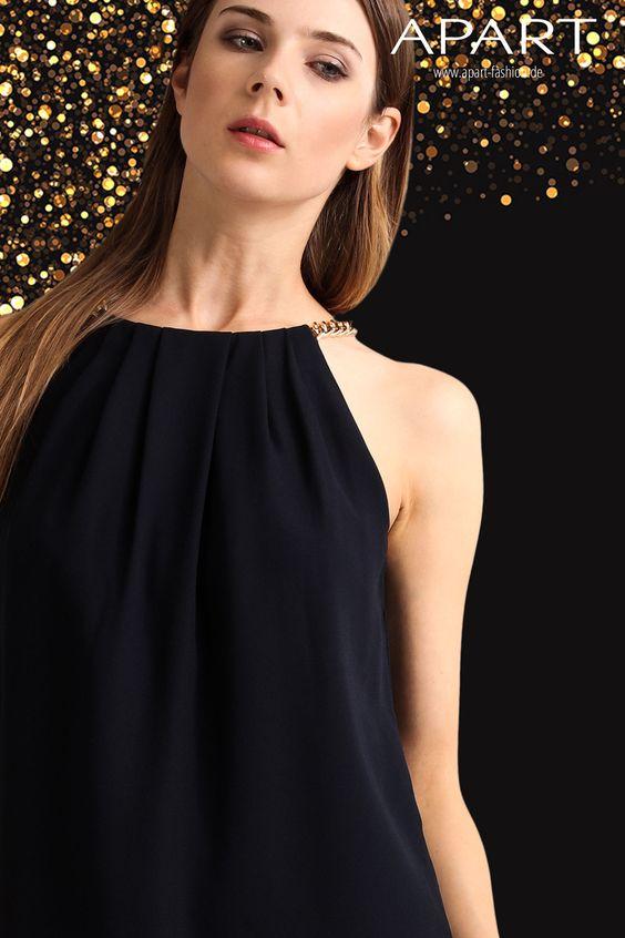 Kleid mit goldfarbener Kette: http://www.apart-fashion.de/kleider/kurze-kleider/41783-kleid.html   #partykleid #partydress #artyoutfit #silvesterkleid #silvesteroutfit #getthelook