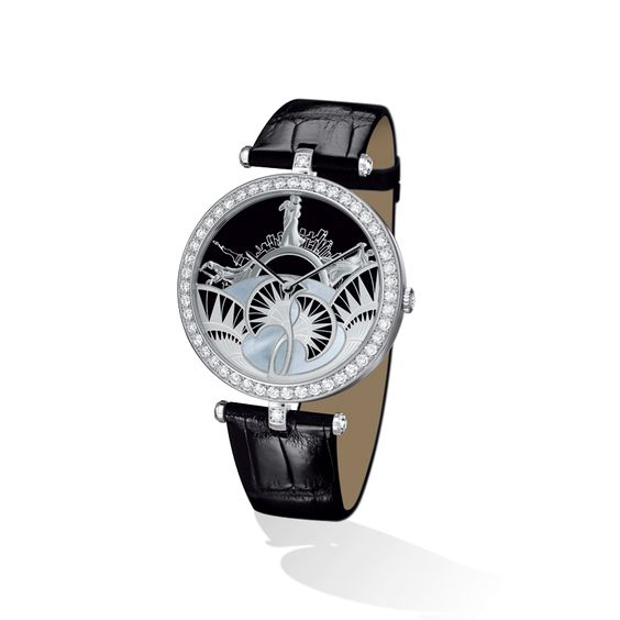 """Lady Arpels Bal Black & White Watch it is an amazing"""" background of 20th century ball in New York. The dancers move through a black and white setting inspired by the Art Deco architecture"""". Inspire us to play around with the magazine cover :)"""