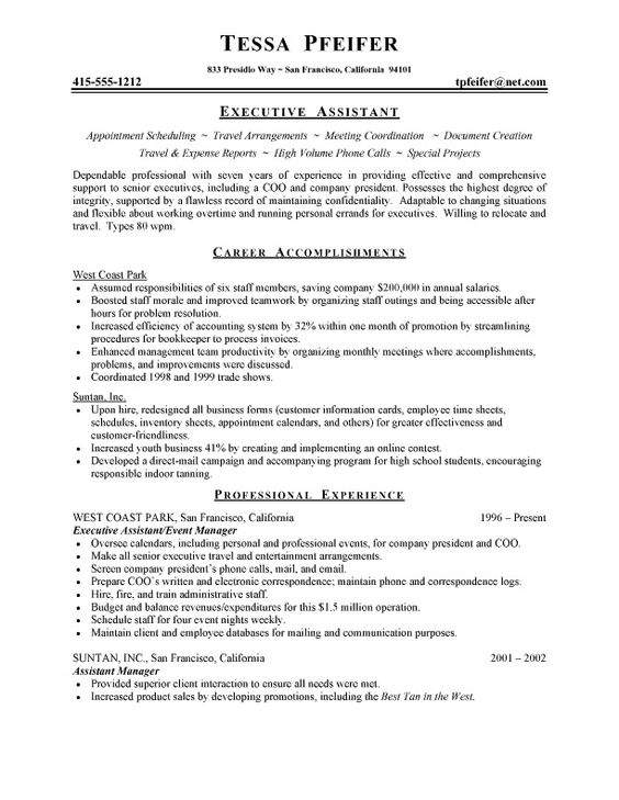 Executive Assistant Resume Sample #711 -    topresumeinfo - executive assistant resumes