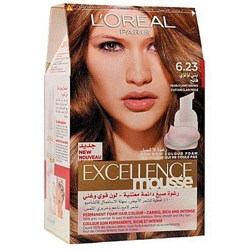 acheter loreal paris excellence mousse chtain clair perl 623 couleur soin permanente riche - Color Mask Chatain Clair
