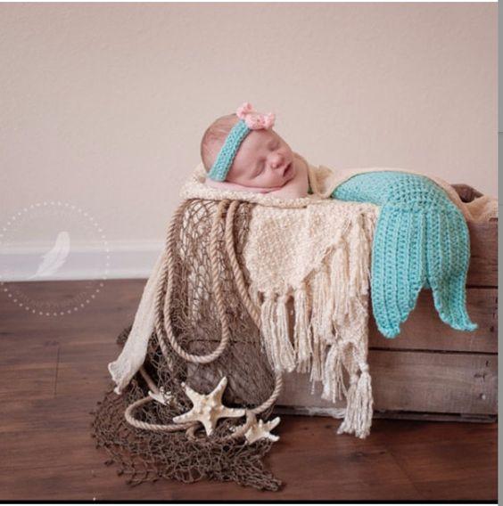Mermaid crochet photo prop