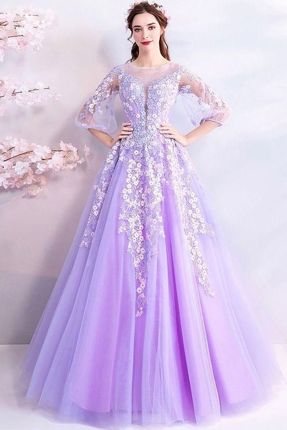 huge selection of get new best deals on Prom Dress Classy, Purple Flowers Long Tulle Prom Dress With Sheer ...