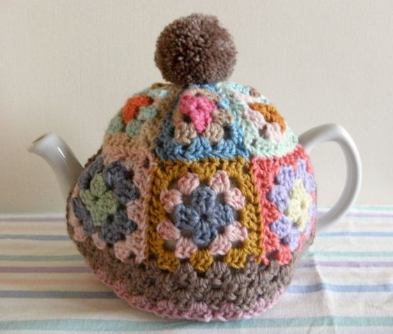 GRANNY SQUARE Tea Cosy Pattern / Tutorial. PDF file instant Download. Tea Cozy. tea Pot Cover. Crochet.: