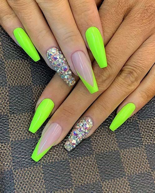 43 Neon Nail Designs That Are Perfect For Summer In 2020 Green Acrylic Nails Neon Nail Designs Neon Nails