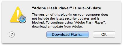 Flash Player is out of date alert sheet