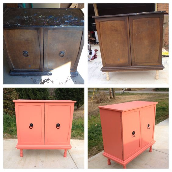 Before and after coral painted furniture diy living for Painting over lead paint on furniture