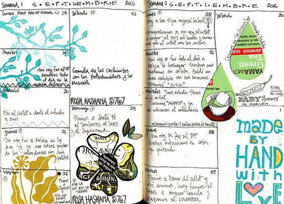 Calendar journaling, click through for more examples