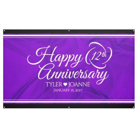 Elegant 12th Silk Wedding Anniversary Banner Zazzle Com Anniversary Banner Wedding Anniversary Anniversary