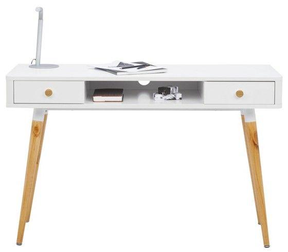 Schreibtisch im Retro-Look in Weiß - ein Arbeitsplatz mit Charakter