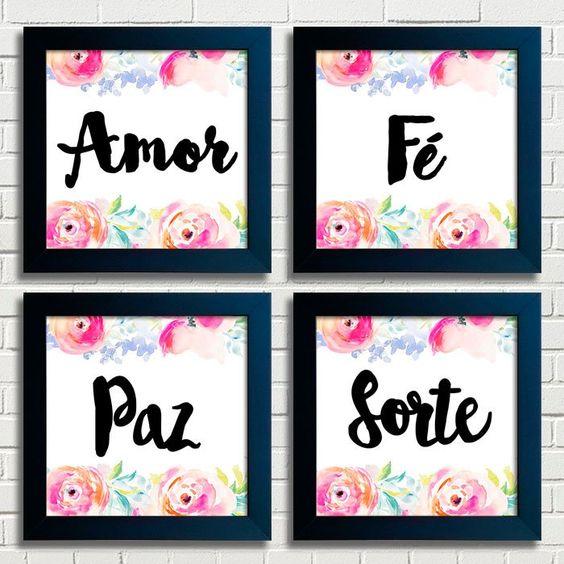 Kit de Quadros Amor Paz Fé Sorte Encadreé Posters