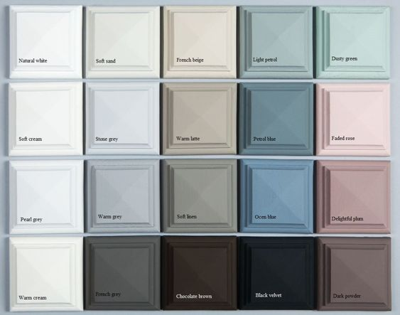 Color  range for vintage and shabby chic looking rooms. Cheat Sheet