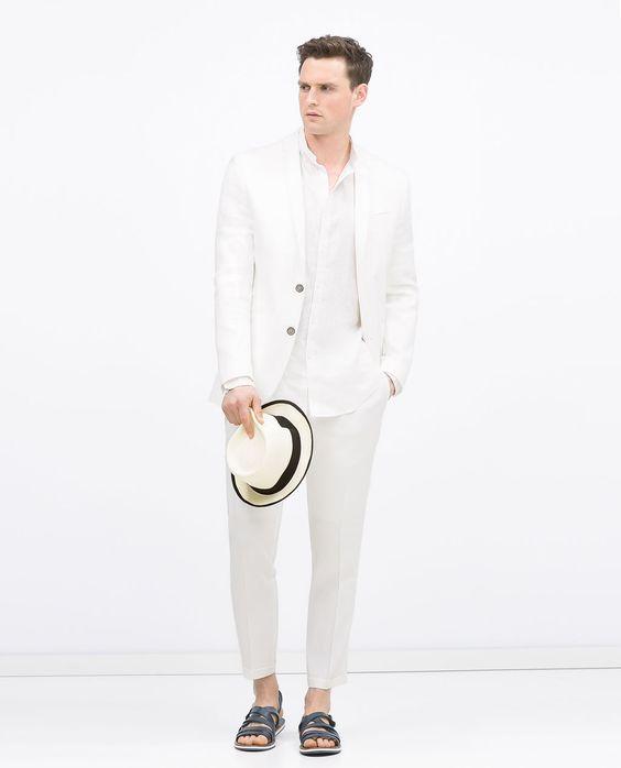 zara homme costume blanc en lin et cupro lin. Black Bedroom Furniture Sets. Home Design Ideas