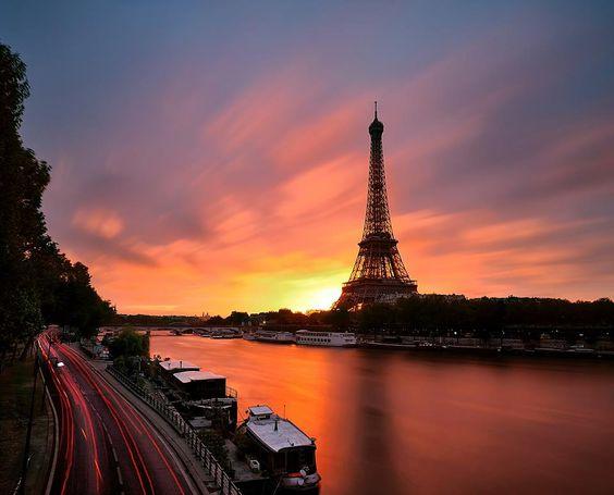 sunrise on the Eiffel Tower Paris