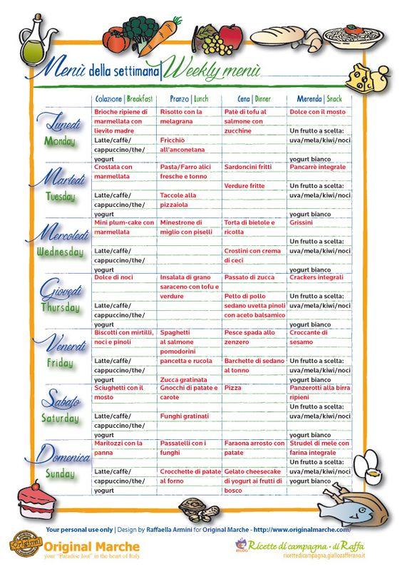 Eccezionale Vitadimamma - Menu settimanale in pdf da stampare per la settimana  VJ75
