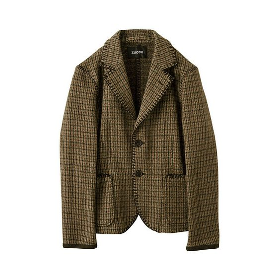 ガンクラブジャカード / ジャケット : 公式通販 ZUCCa ズッカ | HUMOR ユーモア (5.945 ARS) ❤ liked on Polyvore featuring outerwear, jackets, coats & jackets, blazer, zucca, brown jacket, blazer jacket and brown blazer