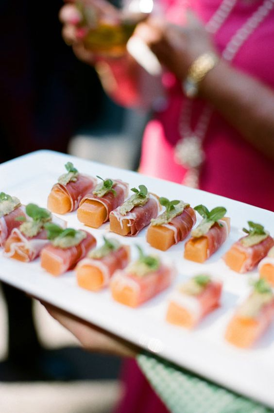 Melon and Prosciutto summer wedding appetizers