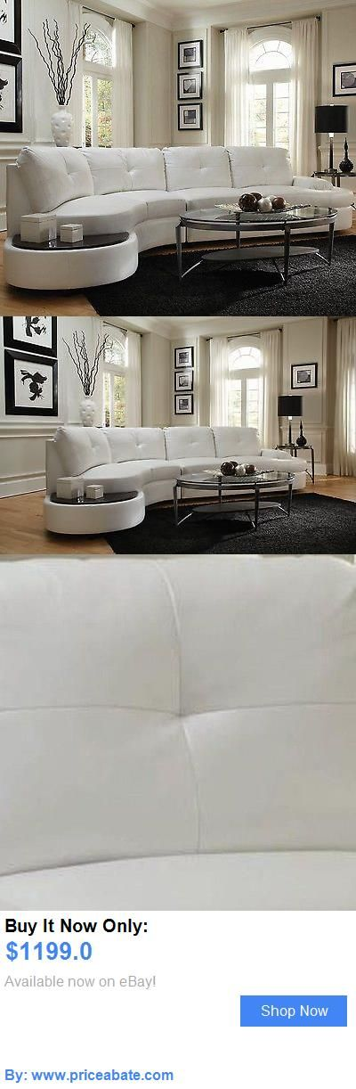 furniture: Modern White Leather Sofa Sectional W/ Built In Table Livingroom Furniture Set BUY IT NOW ONLY: $1199.0 #priceabatefurniture OR #priceabate