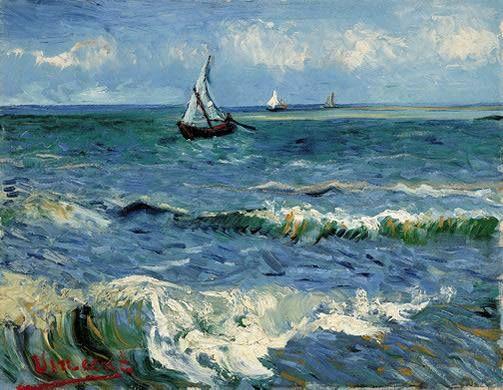 The Sea at Les Saintes-Maries-de-la-Mer -- by Vincent van Gogh, 1888 -- in Van Gogh Museum, Amsterdam ✏✏✏✏✏✏✏✏✏✏✏✏✏✏✏✏  ARTS ET PEINTURES - ARTS AND PAINTINGS  ☞ https://fr.pinterest.com/JeanfbJf/pin-peintres-painters-index/ ══════════════════════  Gᴀʙʏ﹣Fᴇ́ᴇʀɪᴇ ﹕☞ http://www.alittlemarket.com/boutique/gaby_feerie-132444.html ✏✏✏✏✏✏✏✏✏✏✏✏✏✏✏✏