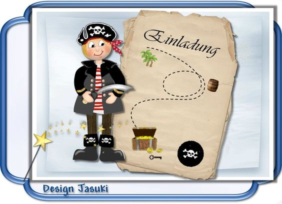 Einladungskarte Kindergeburtstag Pirat Motiv 2 von Jasuki auf DaWanda.com