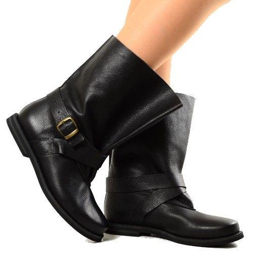 Stivali per Polpacci Grossi Black Biker Boots - KikkiLine Calzature