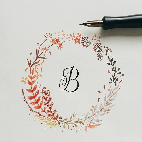 B calligraphy with floral watercolor wreath design Pinterest calligraphy