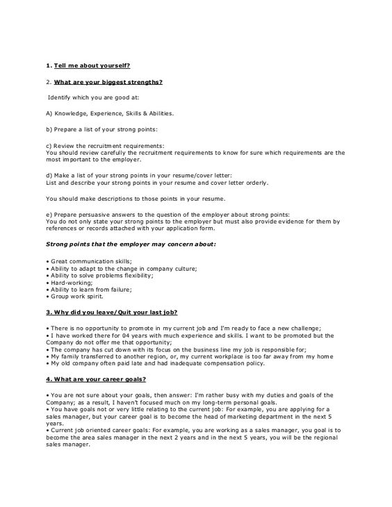 Good answers resume questions
