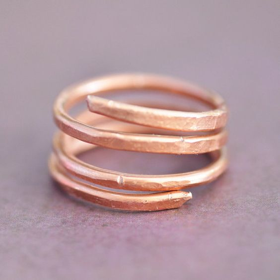 Affordable hammered copper ring or thumb ring. Made from sturdy 12 gauge copper wire.  These rings are made to order. Due to their handmade nature,