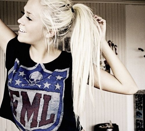 Long hair don't care hipster indie tumblr girl pony tail ...