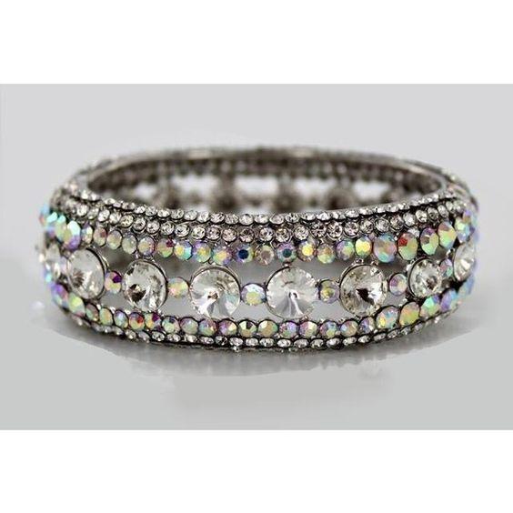 Helen's Heart Style JB-OFB-758 AB Crystal Stone Bangle Bracelet ($38) ❤ liked on Polyvore