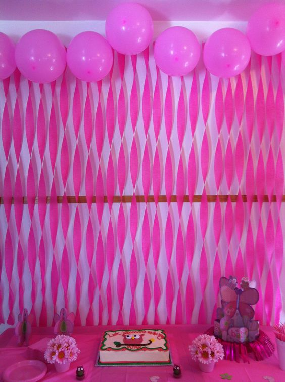 Party streamer and balloon decorations just because for How to make a balloon and streamer backdrop