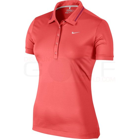 NEW for 2014! Lightweight and breathable, Nike's Women's Icon Swoosh Tech Polo is equipped with Dri-Fit Technology and stretch properties allowing your swing to flow unhindered. Nike Women's Icon Swoosh Tech Polo 586854 | Discount Golf World  $61.75