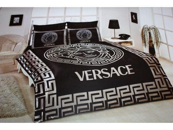 Black Satin Comforter Versace Bedding Set Satin Medusa