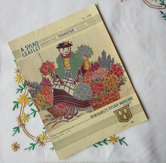 Vintage Sylko Embroidery Transfer The Flower by TheCraftyCurioShop