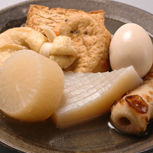Oden - a Japanese stew in which a variety of ingredients are simmered together in a pot of seasoned broth. Oden still is representative of a popular food. : devil's tongue, white radish, egg, fishpaste cake etc.