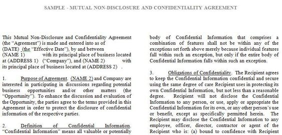 Tronmaster on - mutual confidentiality agreement