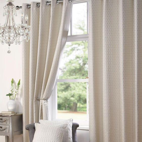 Fraser Textured Eyelet Curtains, Cream