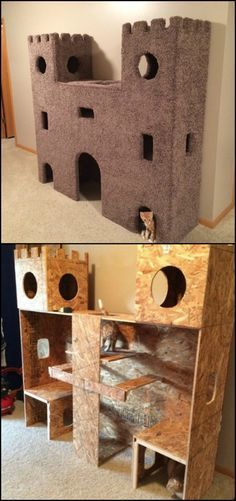 Do you have a cat at home that you want to keep it from climbing your furniture? A cat castle will surely do the trick! http://diyprojects.ideas2live4.com/2015/10/01/cat-castles-to-keep-your-indoor-cat-busy/ One thing we love about this cat castle, besides its look, is that it doesn't consume too much space in a room. The narrower you make its passage ways and the thinner the castle is, the more your cats will love it. Take a look at these lovely castles!