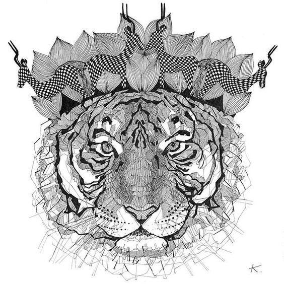 A3 poster with a tiger print. Great gift For your by bethebear