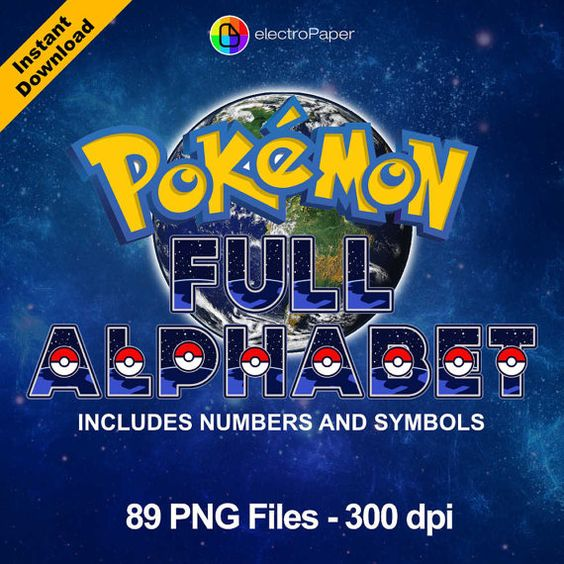POKEMON GO Full Alphabet Clipart 89 png files by ElectroPaper
