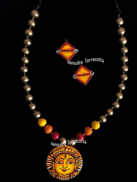 Terracotta jewellery kerala mural hand painted for Mural jewellery