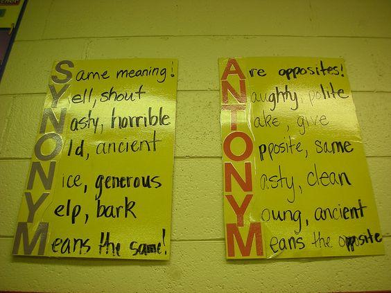 Synonym and antonym chart-love this one!