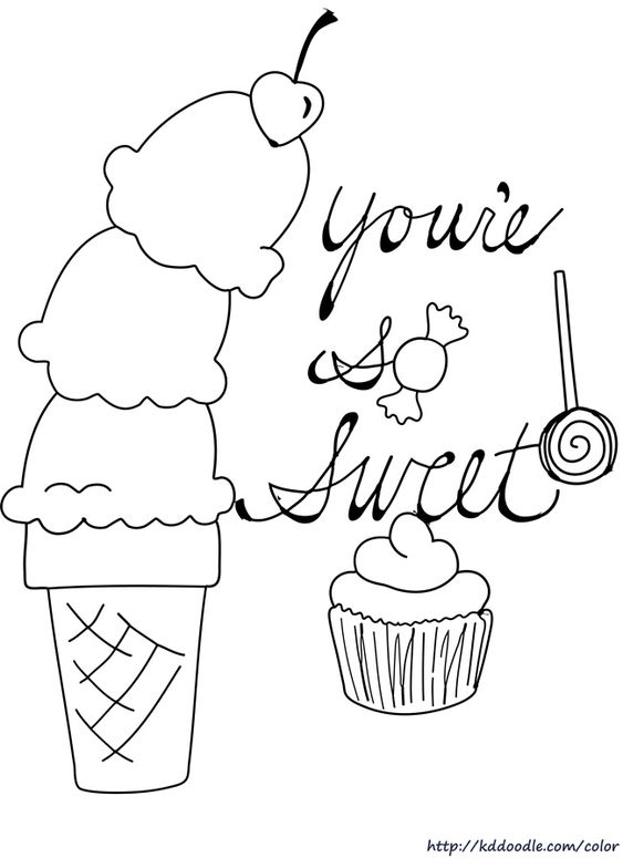Free Printable Coloring Page By Kddoodle Featuring Sweets For Your Sweetie Candy Coloring Pages Cupcake Coloring Pages Valentine Coloring Pages