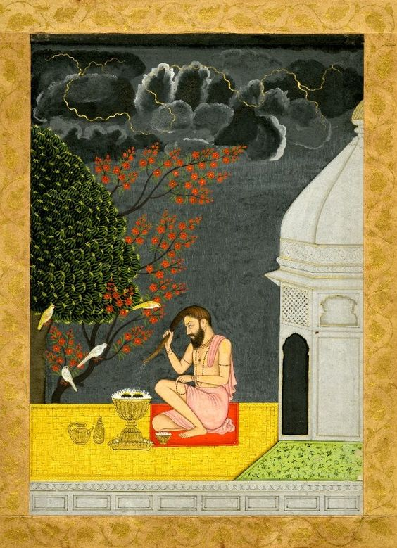 A bearded devotee on a terrace at night wringing water from his long hair. Pahari School, ca.1750    Guler, Panjab Hills India