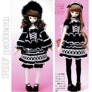 SD Goth Lolita Outfit BJD Sewing Pattern PDF | CraftyLine e-pattern shop