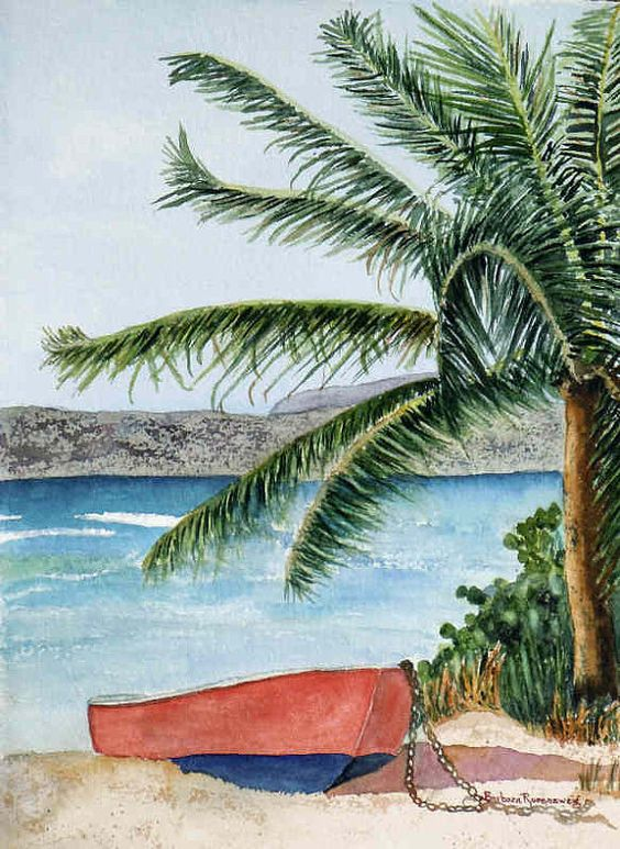 Original beach watercolor palm tree painting art for Tropical vacations in december