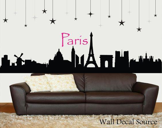 Paris Skyline Silhouette Wall Decal - Paris Wall Art - Eiffel Tower Decor. $75.00, via Etsy.