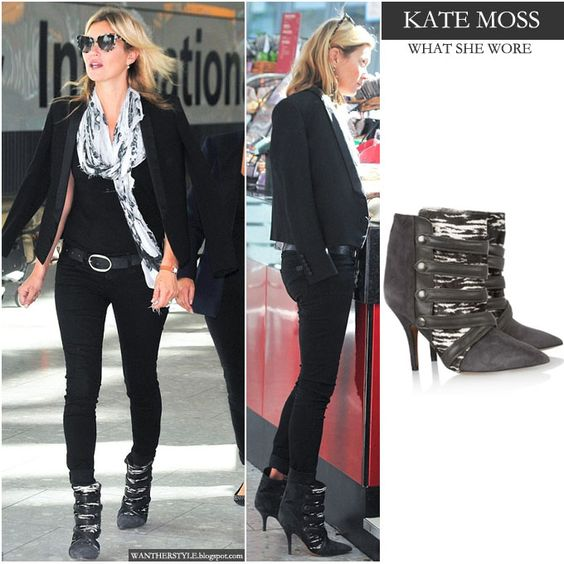 Kate+moss+in+black+skinny+jeans+with+black+suede+pointed+toe+ankle+boots+with+leather+snaps+greeting+her+husband+at+the+heathrow+airport+in+...: