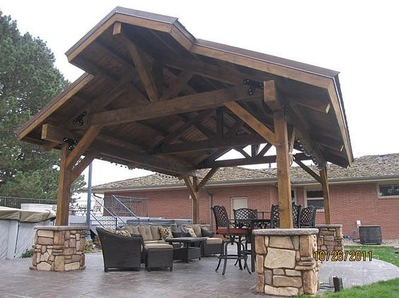 Sand creek post beam this covered 15 39 x20 39 pavilion for Outdoor kitchen roof structures
